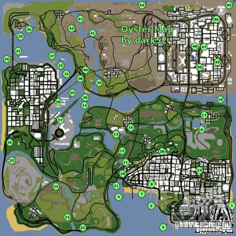 Карта раковин для GTA San Andreas