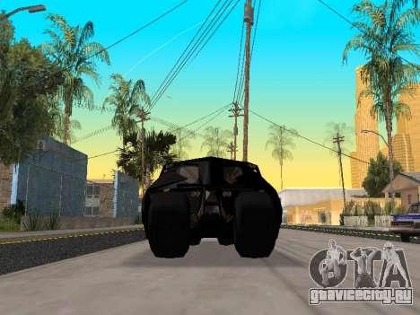 Tumbler Batmobile 2.0 для GTA San Andreas вид изнутри