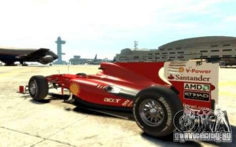 2010 Scuderia Ferrari F10 для GTA 4 вид слева