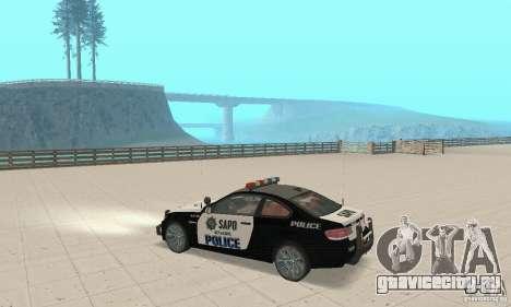 BMW M3 E92 Police для GTA San Andreas вид сзади