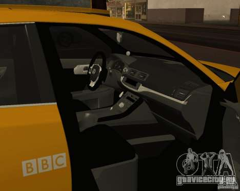 Lexus CT 200h 2011 Taxi для GTA San Andreas вид изнутри