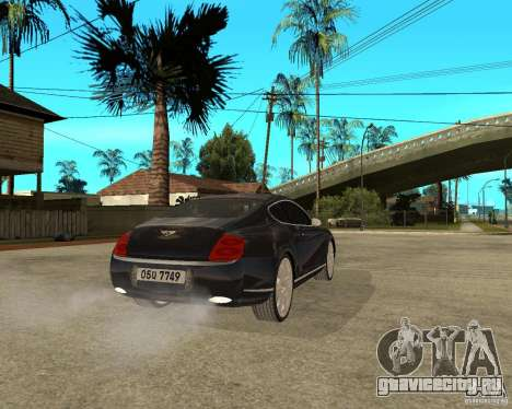 Bentley Continental GT для GTA San Andreas вид сзади слева