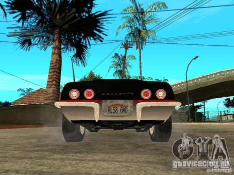 Chevrolet Corvette 1968 Stingray для GTA San Andreas вид сзади слева