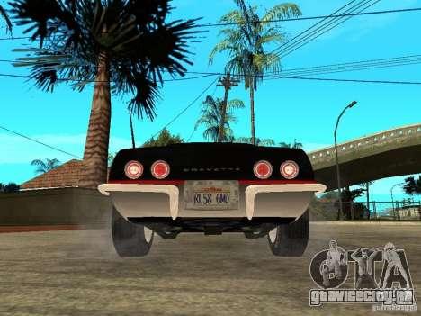 Chevrolet Corvette 1968 Stingray для GTA San Andreas вид сзади слева