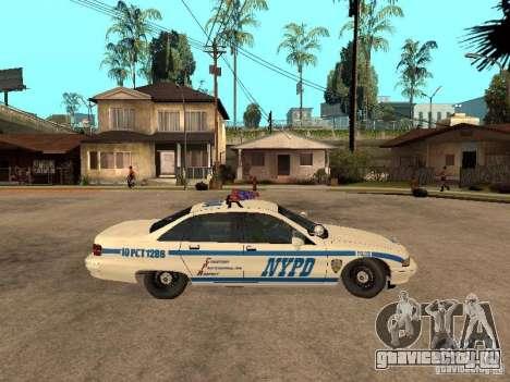 NYPD Chevrolet Caprice Marked Cruiser для GTA San Andreas вид сзади слева