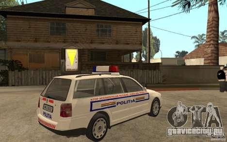 VW Passat B5 Variant Politia Romana для GTA San Andreas вид справа