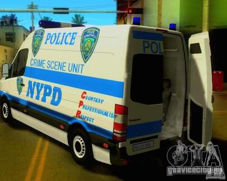 Mercedes Benz Sprinter NYPD police для GTA San Andreas вид сзади