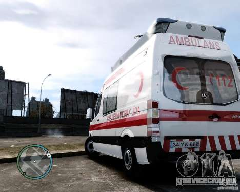 Mercedes Sprinter Turkish Ambulance для GTA 4 вид справа