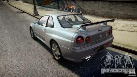 Nissan Skyline GT-R R34 2002 v1 для GTA 4 вид сзади слева