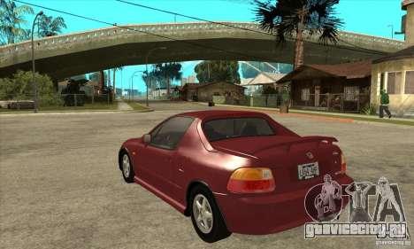 Honda CRX - DelSol для GTA San Andreas вид сзади слева
