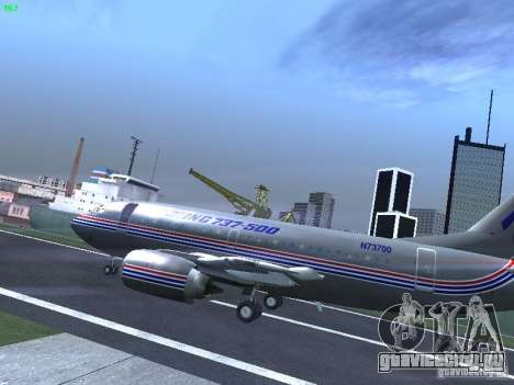 Boeing 737-500 для GTA San Andreas вид сзади слева