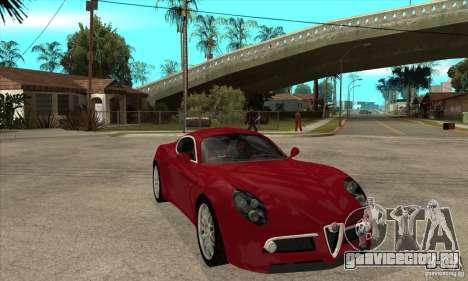 Alfa Romeo 8С Competizione stock для GTA San Andreas вид изнутри
