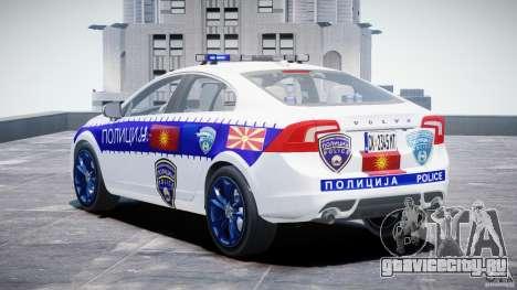 Volvo S60 Macedonian Police [ELS] для GTA 4 вид сзади слева