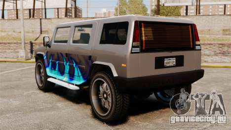 Patriot в раскраске Голубой огонь для GTA 4 вид сзади слева
