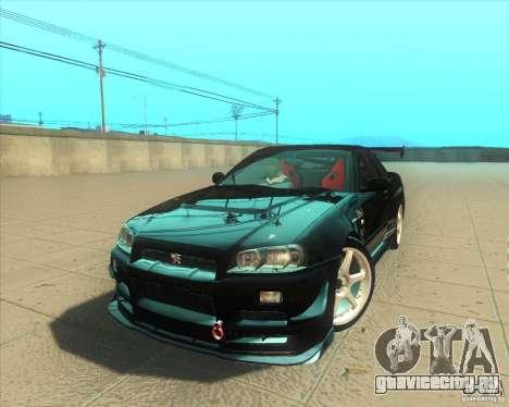Nissan Skyline GT-R R34 M-Spec Nur для GTA San Andreas двигатель
