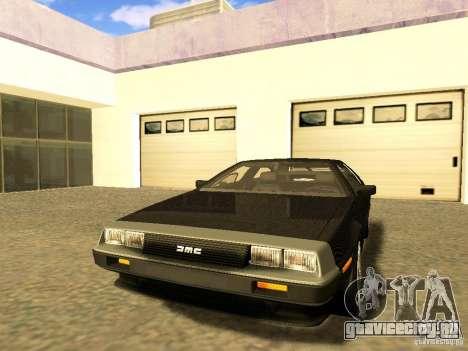 DeLorean DMC-12 V8 для GTA San Andreas вид изнутри
