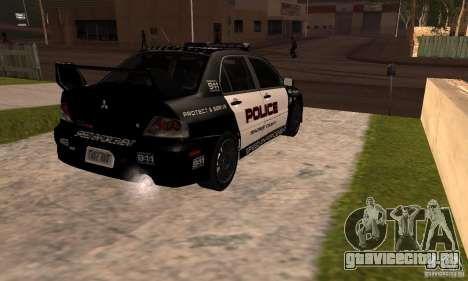 Mitsubishi Lancer Evo VIII MR Police для GTA San Andreas вид слева