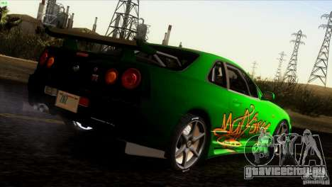 Nissan Skyline R34 Drift для GTA San Andreas двигатель