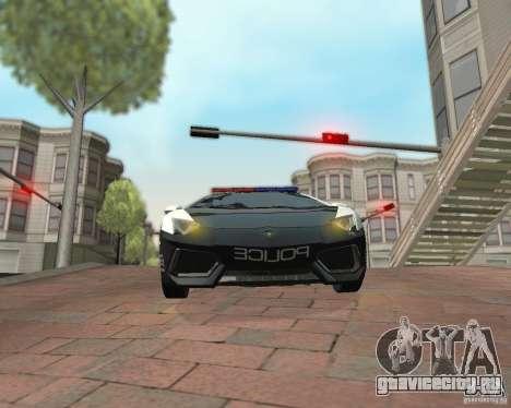Lamborghini Aventador LP700-4 Police для GTA San Andreas вид сзади слева