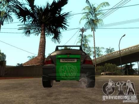 Rover MG ZR EX258 для GTA San Andreas вид сзади слева