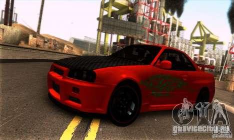 Nissan Skyline R34 GT-R Tunable для GTA San Andreas вид сзади