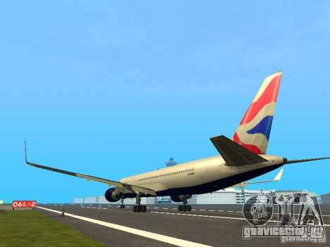 Boeing 767-300 British Airways для GTA San Andreas вид сзади слева