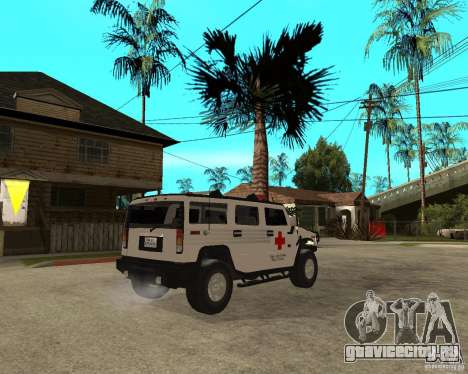 AMG H2 HUMMER - RED CROSS (ambulance) для GTA San Andreas вид сзади слева