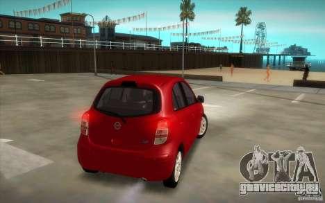 Nissan Micra 2011 для GTA San Andreas вид справа