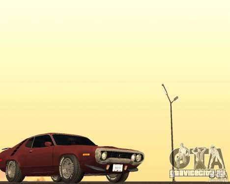 Plymouth Roadrunner для GTA San Andreas вид изнутри