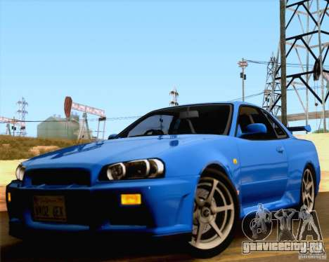 Nissan Skyline R34 для GTA San Andreas вид сзади