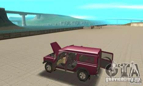 Land Rover Defender 110SW для GTA San Andreas вид изнутри