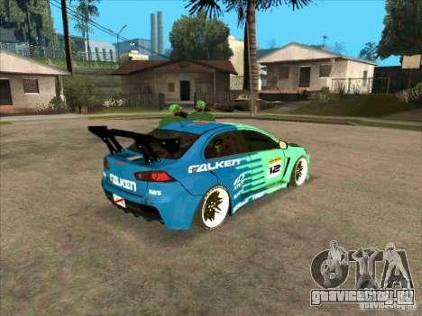 Mitsubishi Evo X Falken для GTA San Andreas вид справа