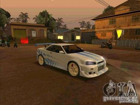 Nissan Skyline GT-R R34 2 Fast 2 Furious для GTA San Andreas вид справа