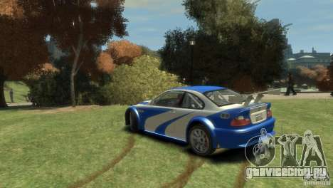 BMW M3 GTR NFS MOST WANTED для GTA 4 вид сзади слева