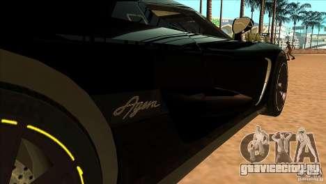 Koenigsegg Agera 2010 для GTA San Andreas вид изнутри