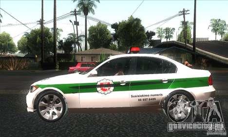 BMW 330 E90 Policija для GTA San Andreas вид слева