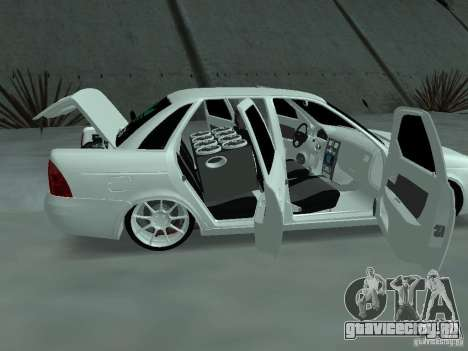 Lada Priora Adidas для GTA San Andreas вид изнутри