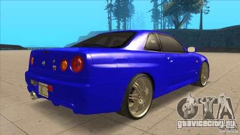 Nissan Skyline R34 FNF4 для GTA San Andreas вид справа