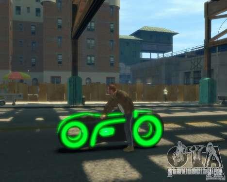 Мотоцикл из Трон (зеленый неон) для GTA 4 вид слева