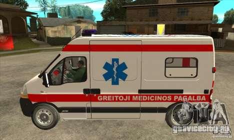 Renault Master Ambulance для GTA San Andreas вид слева
