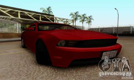 Ford Mustang 2010 для GTA San Andreas вид изнутри