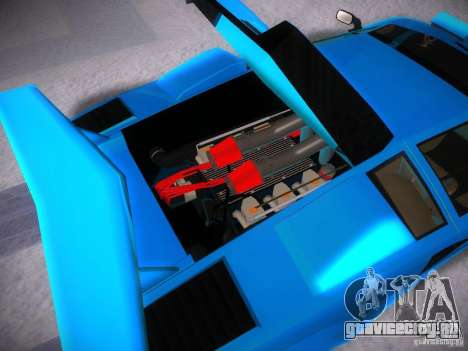 Lamborghini Countach LP5000 для GTA San Andreas вид изнутри