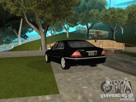 Mercedes-Benz S600 Biturbo 2003 v2 для GTA San Andreas вид сзади слева