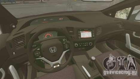 Honda Civic Si Coupe 2012 для GTA 4 вид сзади