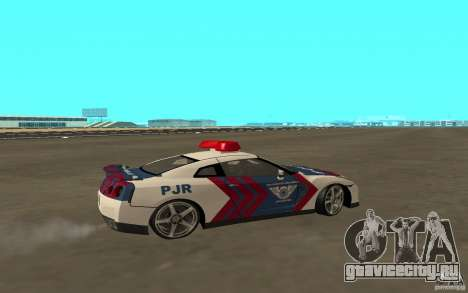 Nissan GT-R R35 Indonesia Police для GTA San Andreas вид сзади слева