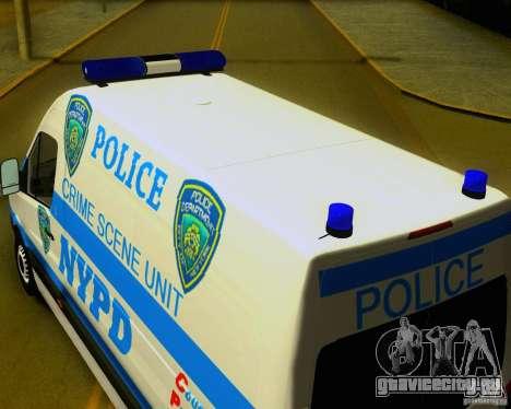 Mercedes Benz Sprinter NYPD police для GTA San Andreas вид справа
