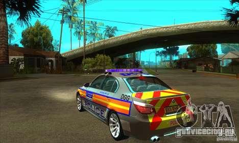 Metropolitan Police BMW 5 Series Saloon для GTA San Andreas вид сзади слева