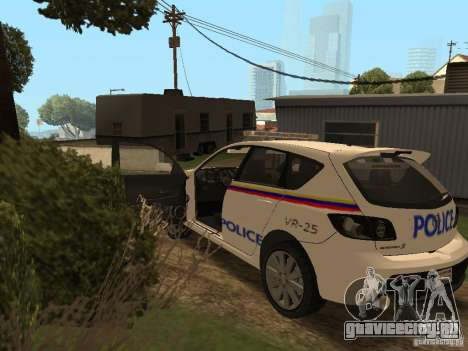 Mazda 3 Police для GTA San Andreas вид изнутри