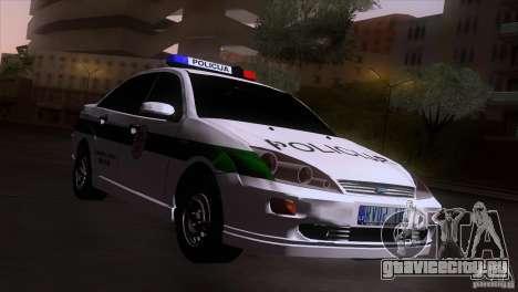 Ford Focus Policija для GTA San Andreas вид сзади слева