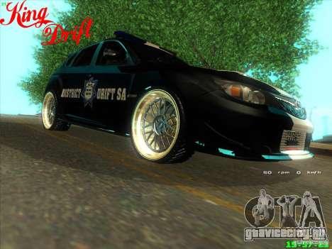 Subaru Impreza WRX Police для GTA San Andreas вид справа